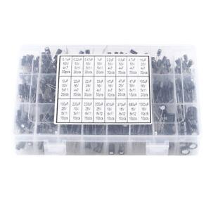 500pcs 24 Values Aluminum Electrolytic Capacitor Kit 10V~50V 0.1uF~1000uF