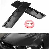 2Pc Carbon Fiber Car Hood Vents Louver Panel Trim ABS Universal For All Vehicles