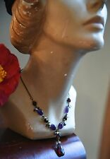 "Seed Pearls Sea Glass Silver 16"" Faceted Teardrop Glass Amethyst Stone Necklace"