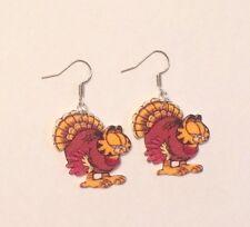 Garfield Turkey Thanksgiving  Earrings HANDMADE PLASTIC CHARMS Jon Odie Holiday
