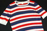 Vintage 70s Red White Blue Polyester T Shirt Nautical Hipster Womens 8