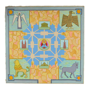 """Mid-Century Modern Painting """"Abstract Religious Mandala"""" Dick Fort Chicago"""