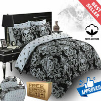 Baroque Skull Duvet Cover Gothic 100% Cotton Bedding Set with Pillowcases