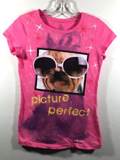 Girls Pink 'picture perfect' Short Sleeve Shirt Size M (7/8)