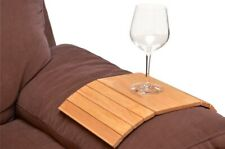 FLEXIBLE WOODEN SOFA ARM CHAIR TRAY MEDIA ORGANISER SNACK SERVING TRAY ARM REST