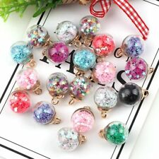 8Pcs 16mm Shiny Star Glass Ball Beads Pendant For DIY Jewelry Making Accessories