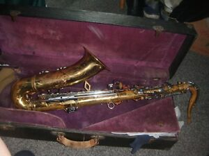 """French brass tenor saxophone by Dolnet, engraved """"Jean Cartier of Paris 'Artist'"""