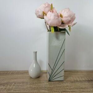 Vintage 90s Grey Geometric Art Pottery Studio Vase Contemporary Minimalist