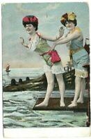 Vintage Post Card c.1909 Girls Swim Suits Ruffles Diving Board Sailboat