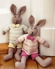 MR/MRS BUNNY TOY-KNITTING YARN KIT AND FREE PATTERN - WITH PANTS JUMPER AND BOW