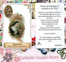 Saint St. Rita - Patron of Those with Wounds - Plastic stock Holy Card