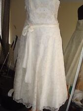 MONSOON BRIDAL WEDDING DRESS EMBELLISHED GOWN MIDI SHORT IVORY LACE UK 12