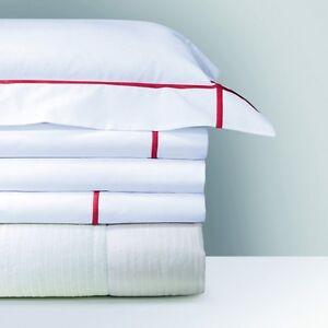 Yves Delorme Athena White 2 Euro Pillow Shams Cases Opera Red Stripe Cotton $260