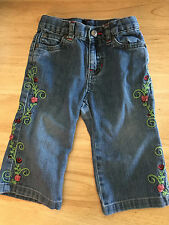 Baby Girl Gap Blue Jeans Size 12-18 Month with Flowers Gorgeouse!!!