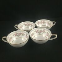 Set of 4 VTG Cups by Noritake 5433 Dark Pink and Gray Floral Gold Trim Japan