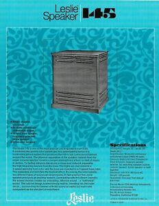 Leslie Speaker Advertising Flyer/ Spec Sheet - 145 Speaker