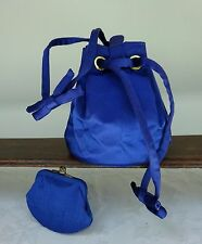 Satin Vintage Drawstring Bag and Coin Purse Royal Blue Party 50's 60's