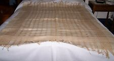 ANTIQUE LINEN TABLECLOTH-TAN/BROWN/WHITE PLAID-TABLE COVER