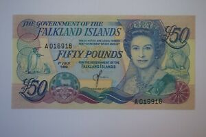 FALKLAND ISLANDS Fifty £50 Pounds Banknote A016918 LOVELY CONDITION 1st July 90