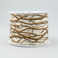 """Winter Brown Branches on Cream Ribbon 2.5"""" W x 10 yds"""