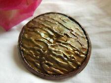 Gros bouton ancien vintage en resine marron collection 4 cm D19N