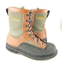 Mens Cabelas Master Guide Brown Green Felt Bottom Wading Boots Fishing Fly 9-10