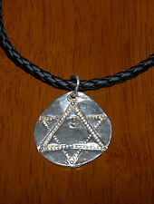 Artisan Handmade Embossed PMC 999 Fine Silver Star of David Pendant Necklace