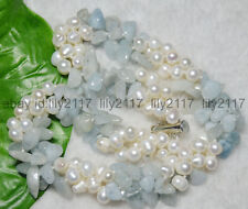 New 3 Rows Real Natural White Pearl Blue Aquamarine Gems Jewelry Necklaces 18""