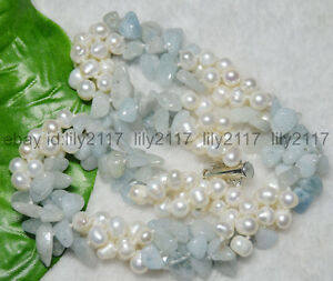 """New 3 Rows Real Natural White Pearl Blue Aquamarine Gems Jewelry Necklaces 18"""""""