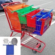 Reusable Foldable Shopping Tote Bags for Cart- Set of 4 w/One Thermal Insulated
