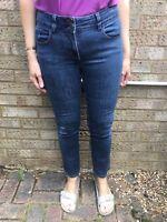 Next High/Mid Rise Blue Denim Cotton Stretch Regular Ankle Length Slim Jeans 10