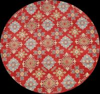 Round Geometric Traditional Kazak Oriental Area Rug Hand-Knotted Wool 7x7 Carpet