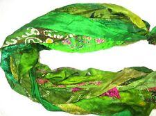 @ 12 yards Unstitched PURE Silk Sari Ribbon Yarn tassels SKEINS Parrot Green bUY