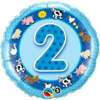Age 2/2nd Birthday Blue Farm Animals Qualatex 18 Inch Foil Helium Balloon