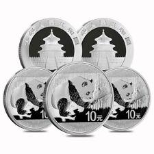 Lot of 5 - 2016 30 gram Chinese Silver Panda 10 Yuan .999 Fine BU