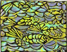 "FISH DESIGN by R. FREEMAN  LINOPRINT 8"" X 10"""