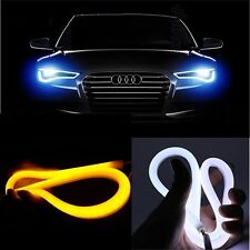 2x 85cm Car Flexible Soft Tube White DRL and Yellow Turn Signal LED Light Strips