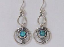 E01931OP SHABLOOL ISRAEL Handcrafted Blue Fire Opal Sterling Silver 925 Earrings