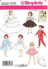 PATTERN toSEW 10.5 inch Doll clothes pjs coat dress Retro Simplicity 3522 repro