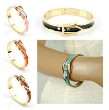 Women Metal Alloy Belt Buckle Bangle Cuff Wristband Enamel Bracelet Gold Skinny