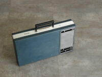 1970s atomic PHILIPS PORTABLE RECORD PLAYER TURNTABLE Suitcase ufo age retro vtg