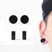 1pc Cool Punk Black Stainless Steel Non-Pierced Ear Studs Earrings for Men/Women
