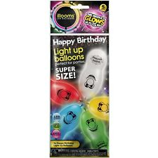 illooms Happy Birthday LED Light Up Balloons 50 Pack Happy Face Party Balloon