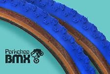 "Kenda Comp 3 III old school BMX skinwall gumwall tires 20"" X 1.75"" BLUE (PAIR)"