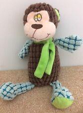 "Gund Waffleloos 11"" Brown Blue Green Plush Bear Monkey Stuffed Animal with Scarf"