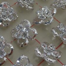 "24 Multi layer silver rhinestone Czech shank buttons flower 5/8"" x 3/4"" #516"