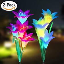 2 Pack Solar Power Lily Flower Led Lights Garden Stake Lamp Yard Outdoor Decor