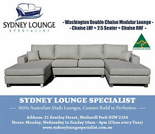 AUSTRALIAN MADE Washington 3P U-shape Theater Double Chaise Modular Lounge Suite