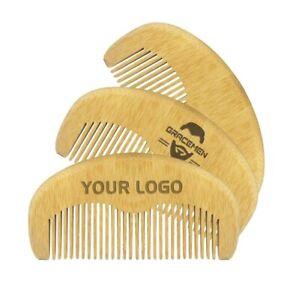 Custom LOGO Eco-friendly Bamboo Hair/Beard Comb Anti Static Portable Pocket Comb