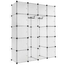 Etagère enfichable XXL penderie à vêtements rangement 147x47x183cm meuble blanc
